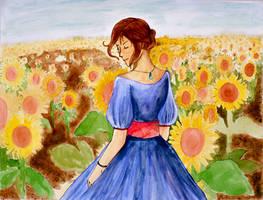 In a field of sunflowers
