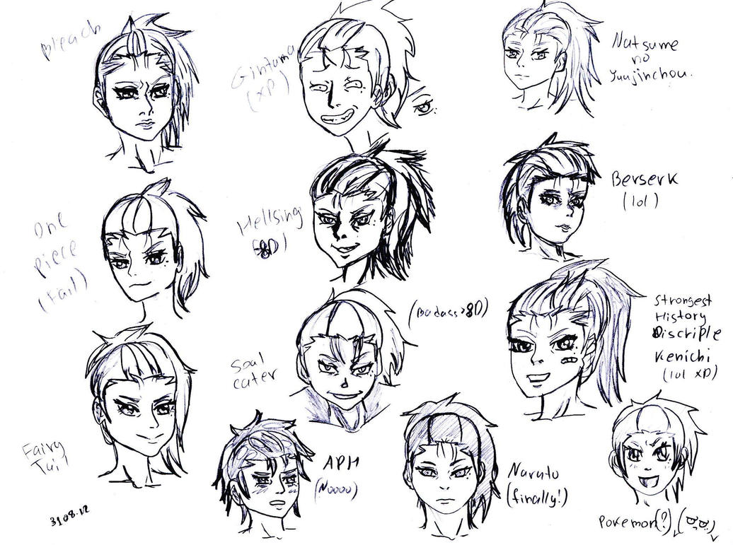 Scribble Drawing Style : Different anime style me xd by chocoani on deviantart