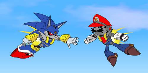 Haltmann Saga - Mecha Sonic vs. Mecha Mario by SuperMase9X