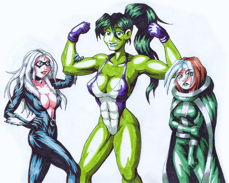 Marvel Heroines by strangefour