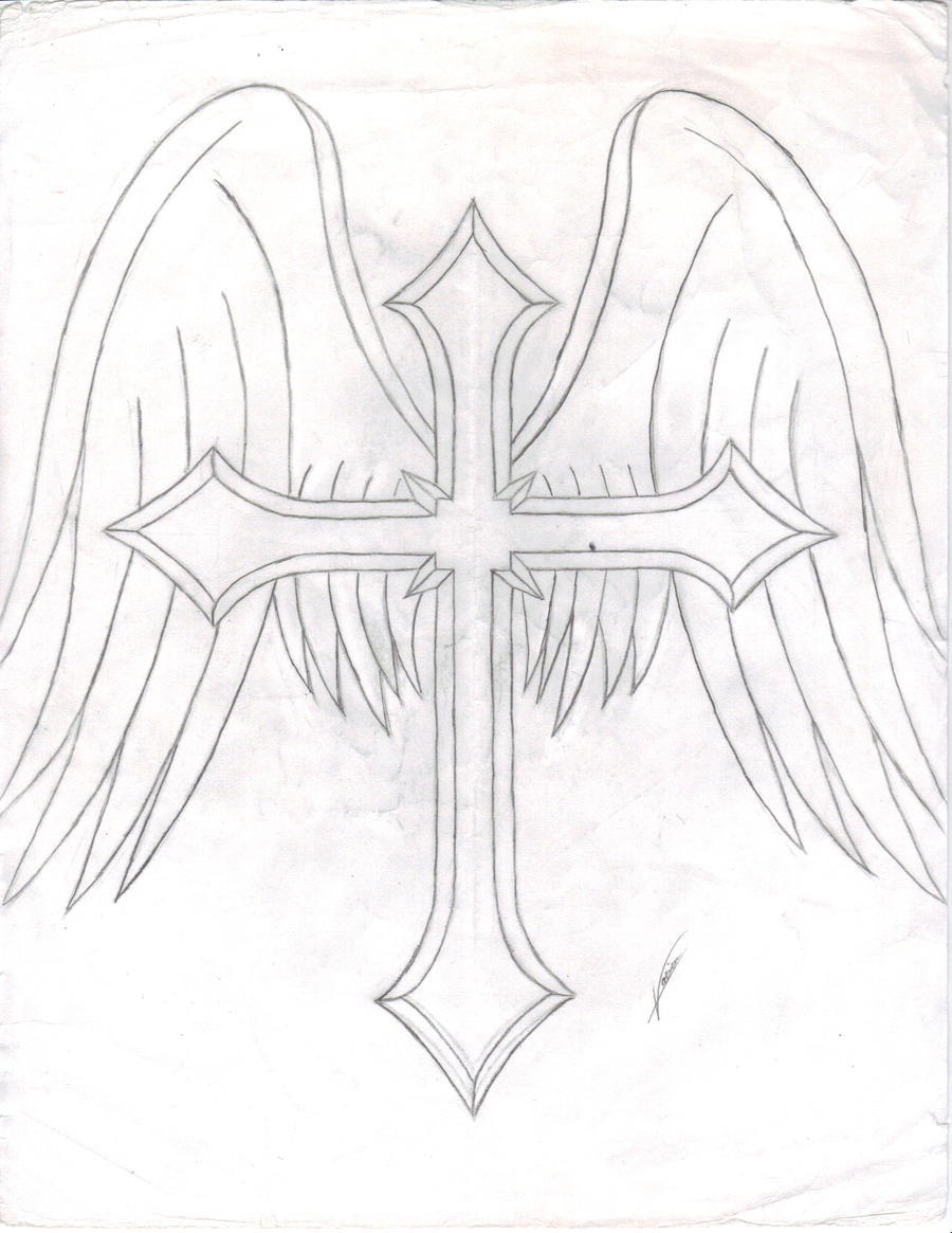 This is a graphic of Dramatic Cross With Wings Drawing
