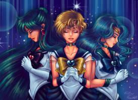 Sailor Moon Screencap Redraw 4: Outer Senshi by Bel-AirBritt