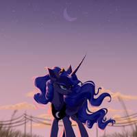 Princess Luna and sunset