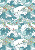 Whales and Waves Pattern by freeminds
