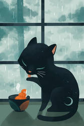 Cat and Rain by freeminds