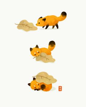 Fox and leaf blanket
