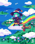 Catgirl Witch and a Curser Rainbow Sword