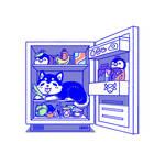 Husky in the fridge