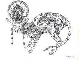 Yoga cat - B/W