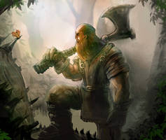Forgotten Myths Card Art - Lumberjack by mattforsyth
