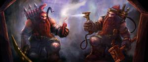 Card art for Forgotten Myths - Dwarf Engineers