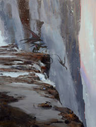 Waterfall dragon rider