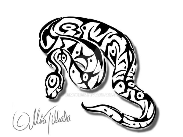 Ball python tattoo by Demondes