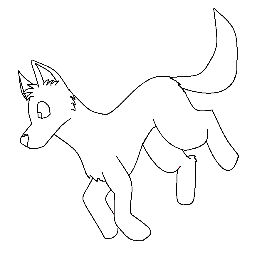 Simple Wolf Lineart : Free paint friendly simple wolf lineart by sooty on