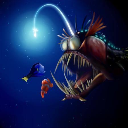 Deep sea fish with light name