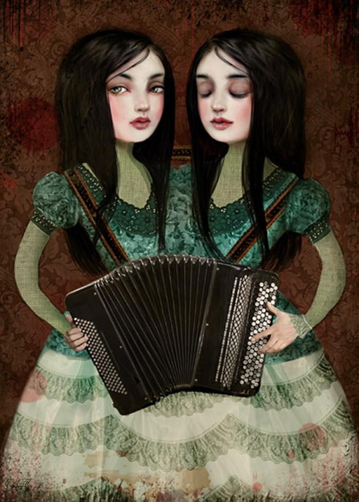 تابلو نقاشی، خواهران دوقلوی نوازنده