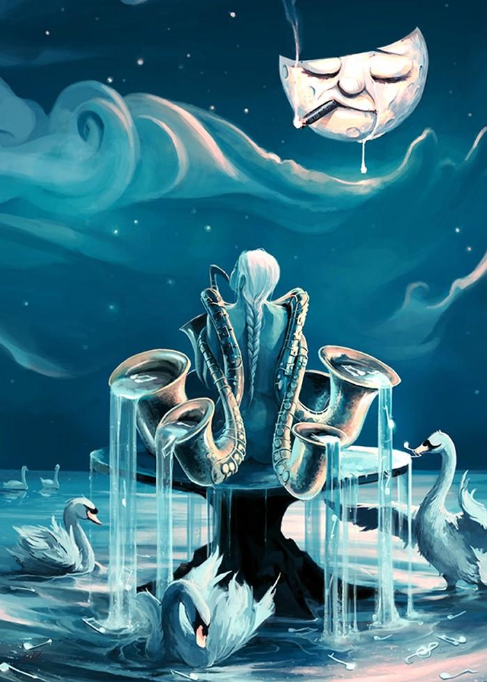 تابلو نقاشی، نوازنده ساکسیفون