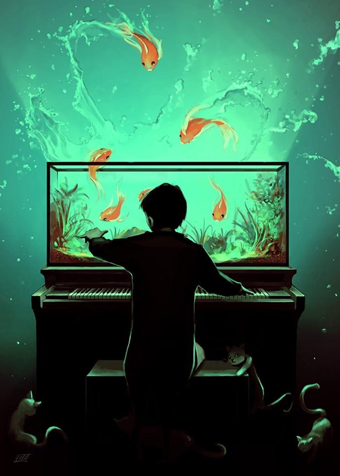 تابلو نقاشی، نوازنده پیانو