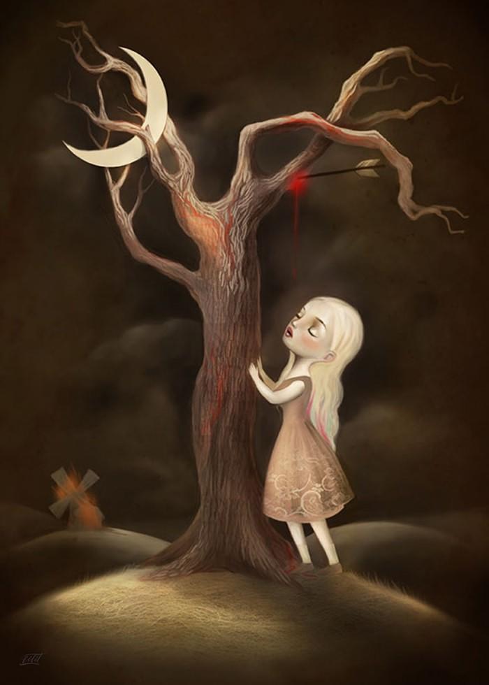 تابلو نقاشی، دختر و درخت کشته شده