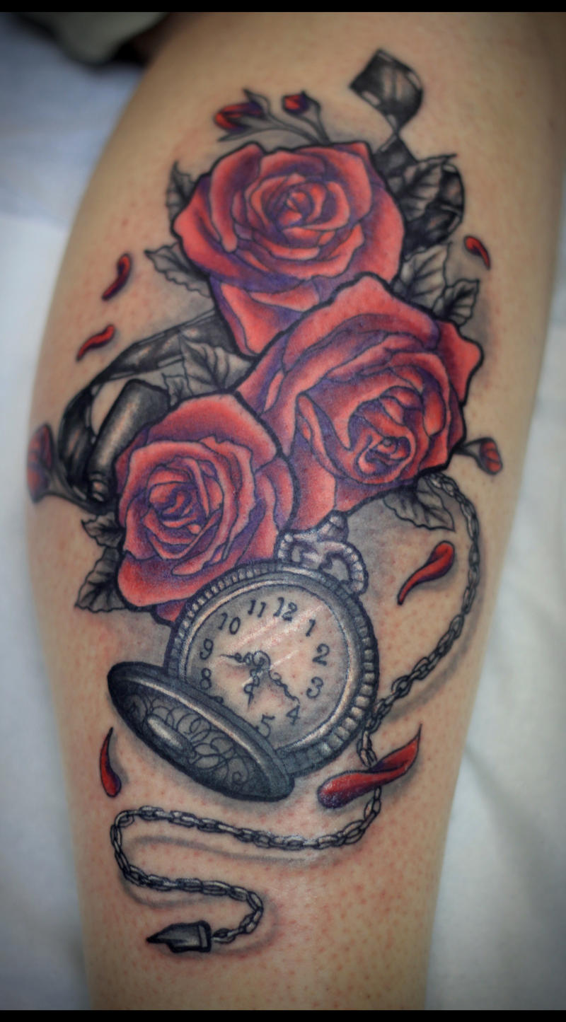 Stop the watch you roses by taylorharmon on deviantart for Stop watch tattoos