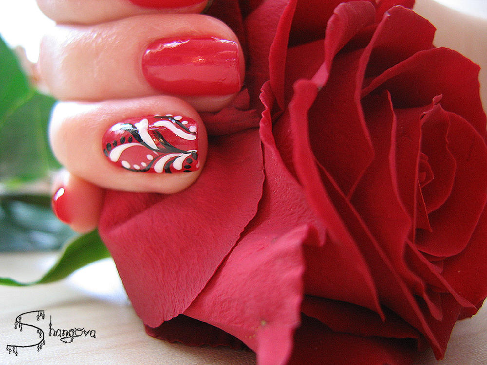 Deep red-2 nail-art by Shangova on DeviantArt