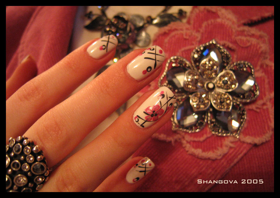 Crystal sakura-3 -nail-art by Shangova