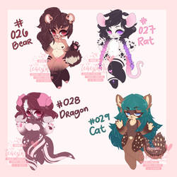 026-029 : Mixed Anthro Adopts [ 3/4 OPEN ] by teaesthetic