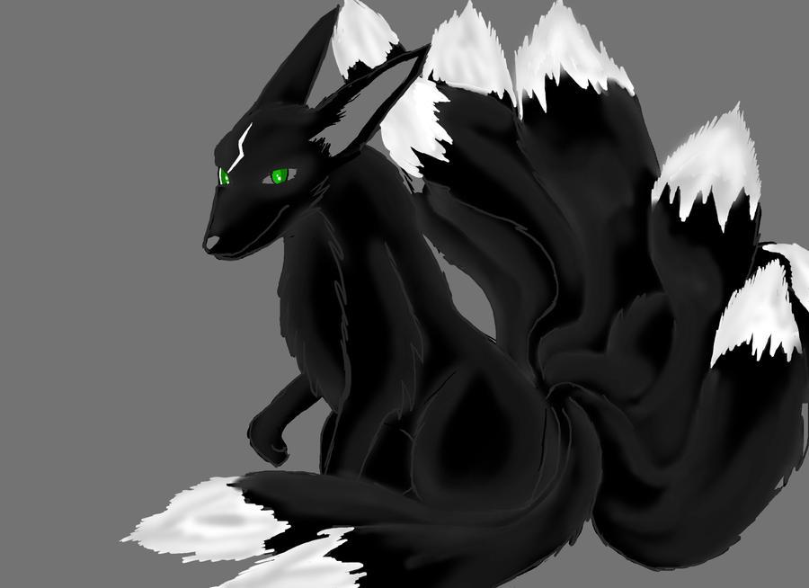 Black Kitsune by Quetzalcoatls on DeviantArt