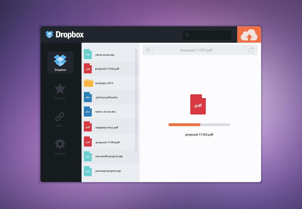 Dropbox New UI Design by Firosnv