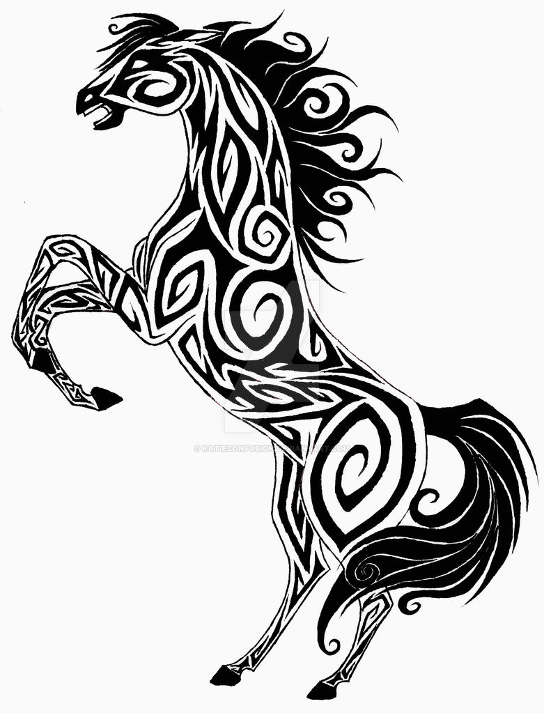 Horse Line Drawing Tattoo : Tribal horse by katieconfusion on deviantart