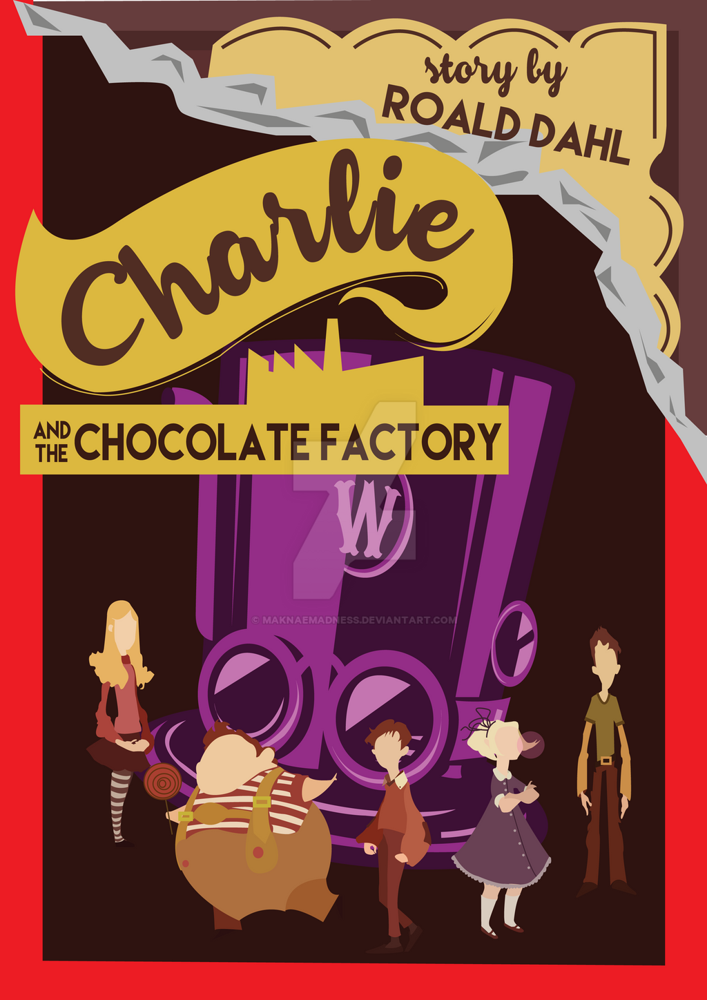 Charlie and the Chocolate Factory Book Cover by maknaemadness on ...