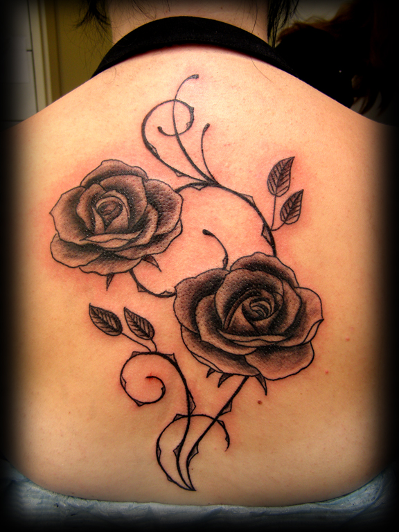 rose tattoo backpiece - flower tattoo