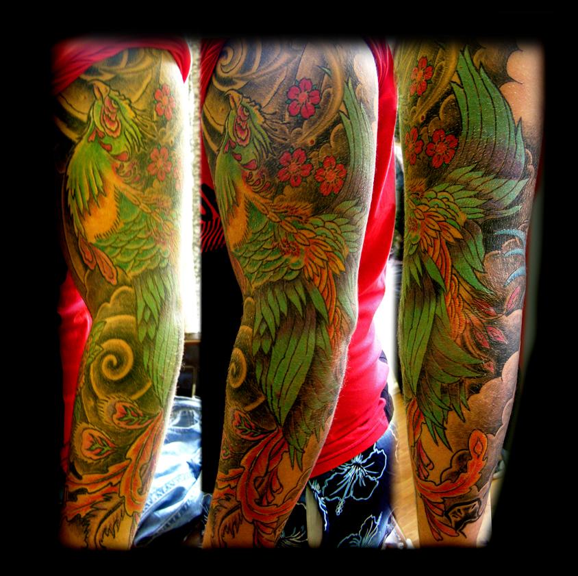Colored Phoenix Sleeve Tattoo For Men: Phoenix Sleeve By WildThingsTattoo On DeviantArt