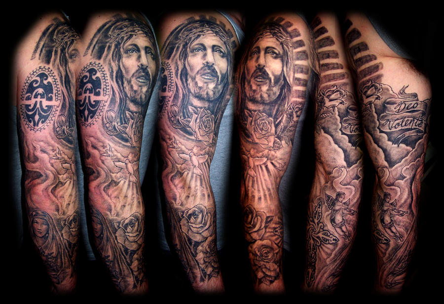 Religious sleeve by WildThingsTattooReligious Tattoo Sleeve