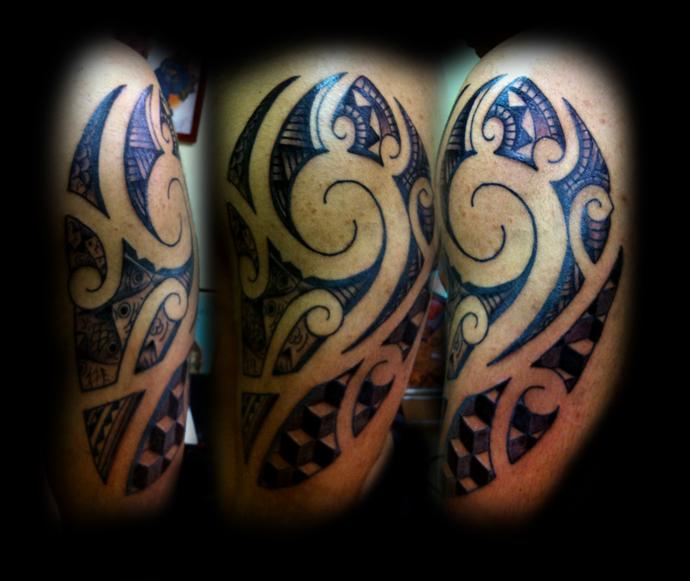 Maori half sleeve Escher inspr - sleeve tattoo