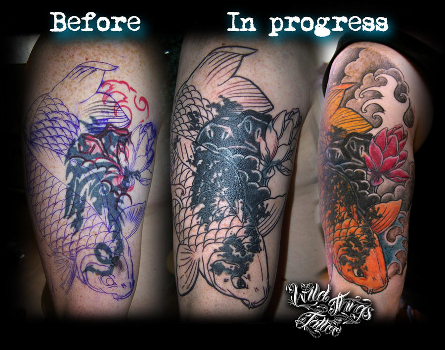 Cover up in progress koi by wildthingstattoo on deviantart for Koi fish cover up