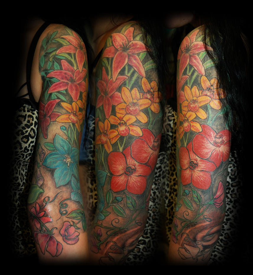 28 flower tattoo sleeve designs 22 floral tattoos for men tropical tattoos half sleeve. Black Bedroom Furniture Sets. Home Design Ideas