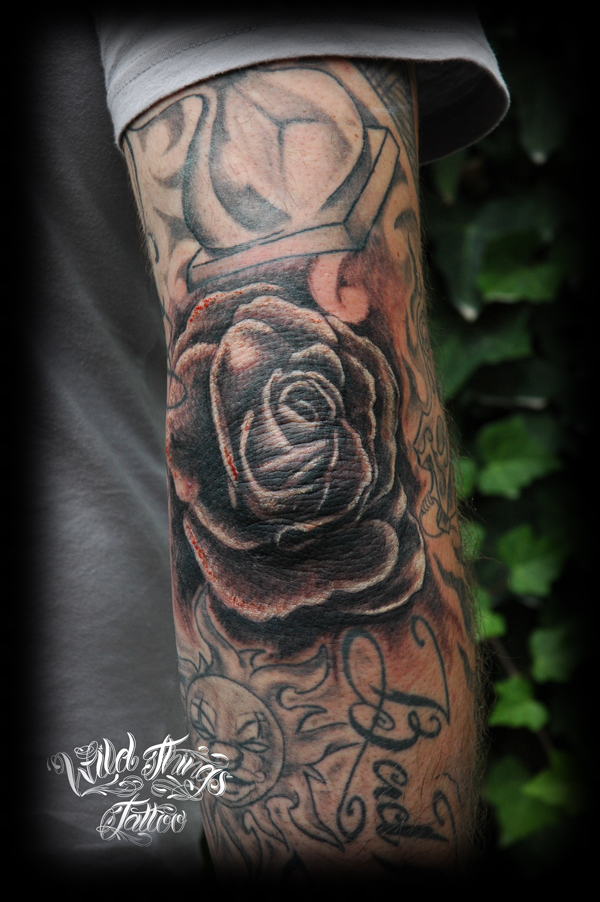 rose on elbow tattoo by wildthingstattoo on deviantart. Black Bedroom Furniture Sets. Home Design Ideas