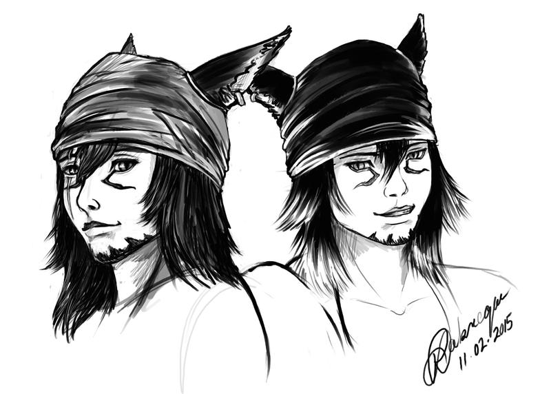 FFXIV - K'Orion and Akira sketch by lorestra