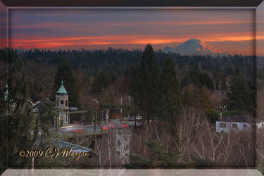 Sunset Over Montlake Bridge by e-CJ