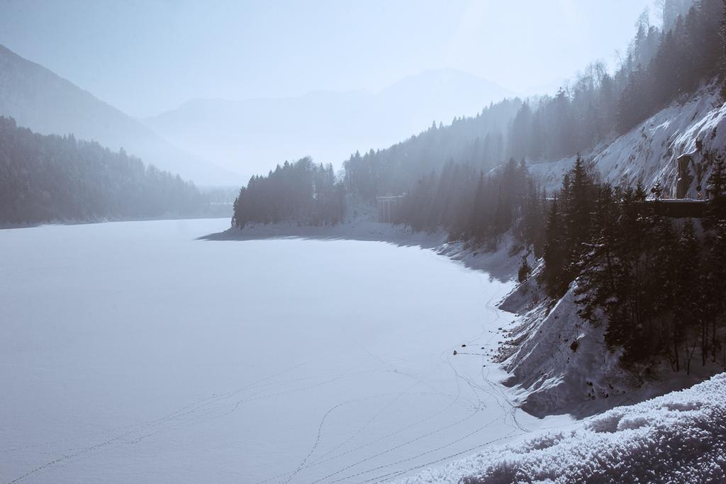 Frozen Lake Sylvenstein. by galaxiesanddust
