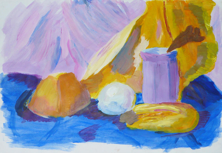 Yellow-lilac still life by creatreedesign