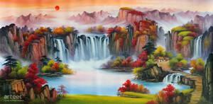 Brocade of a Punchbowl Waterfall - Arteet