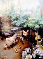 Chickens in the Poultry Yard - Arteet by Arteet
