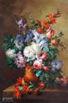 Peonies and Roses in A Ceramic Vase - Arteet