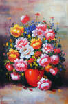 Red Vase and Blossoms - Arteet