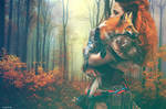 A girl and her fox by 1chick1