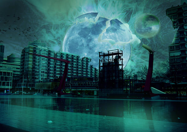 Matte painting: moon explosion by San-Chan15