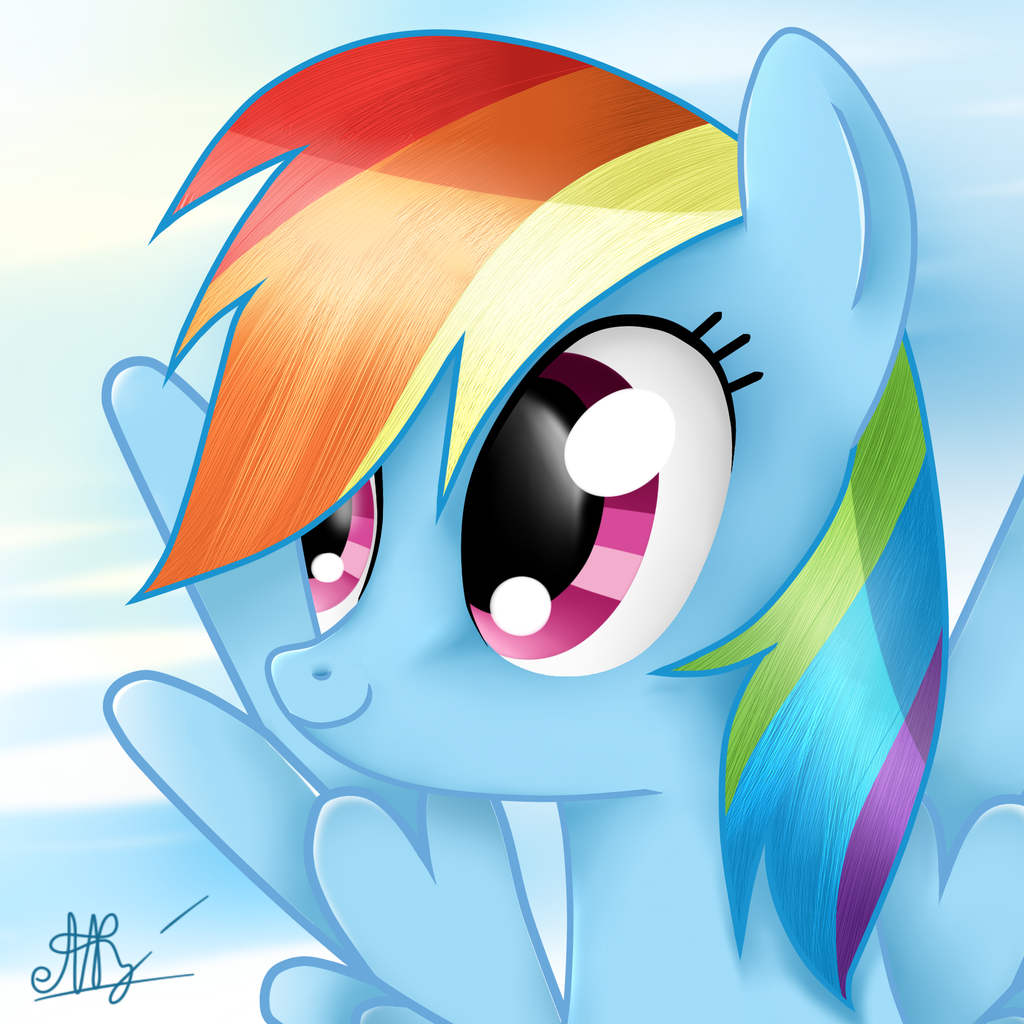how to draw rainbow dash easy