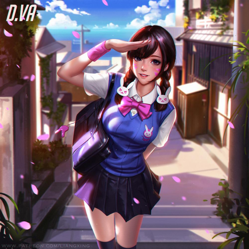 D.va School uniforms by Liang-Xing